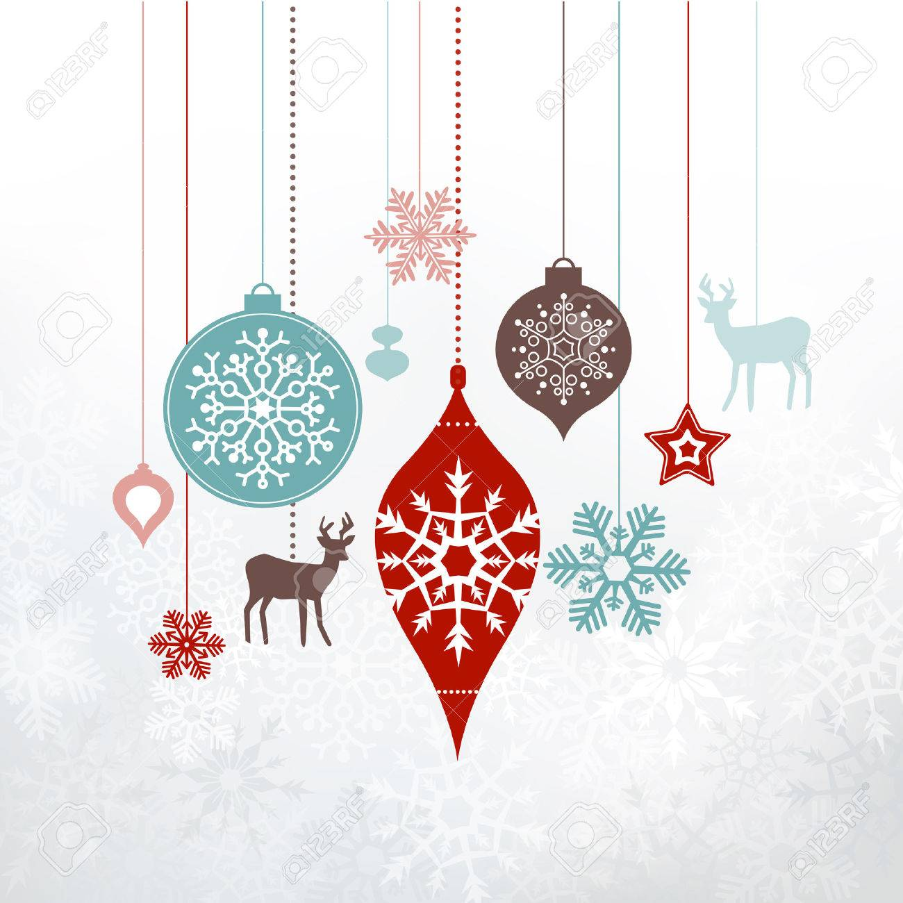 Christmas decorations, ornaments. Silver frosty background - frozen snowlakes. Can be used as a greetings card. - 50372207