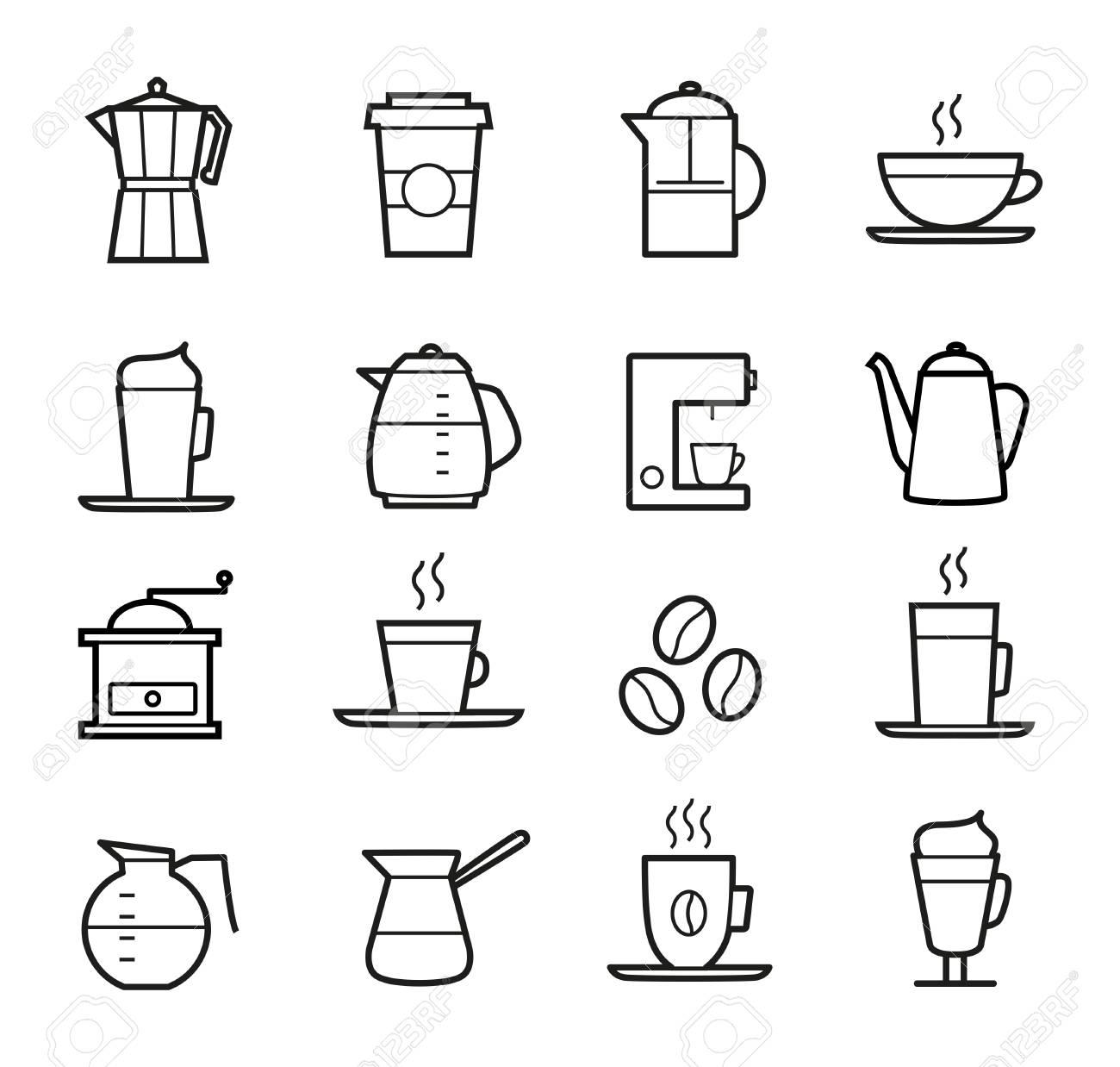 Coffee icons set - thin line design. Coffee cups, pots, coffee machines. - 50372209
