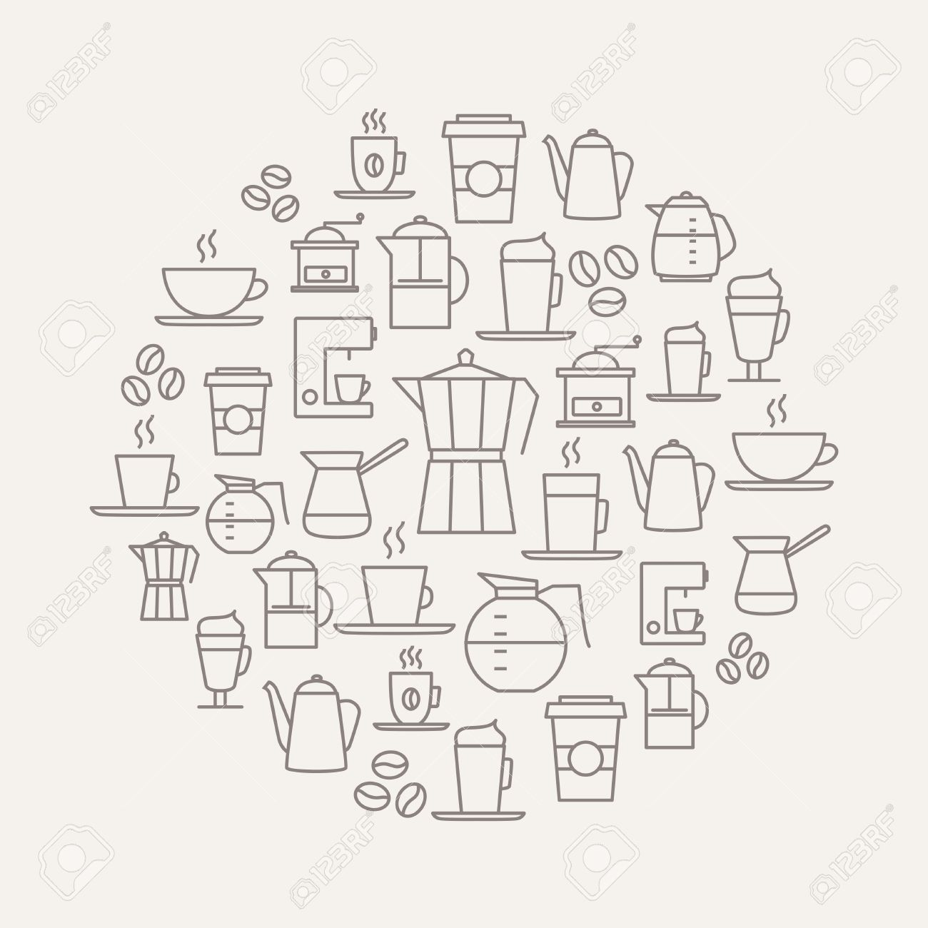 Coffee background made from coffee icons - thin line design. For restaurant menus, interior decorations, stationery, business cards, brand design, websites etc. - 50372217