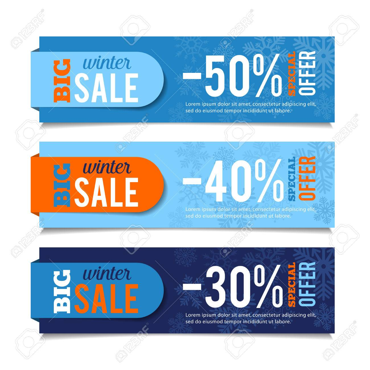 Winter sales banners, seasonal advertising, marketing events. For web or print. Vector graphic. - 50372221
