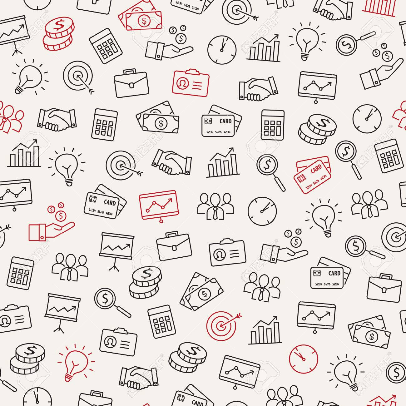 Business icons seamless pattern - can be used to illustrate management, productivity, success, financial growth. - 50372232