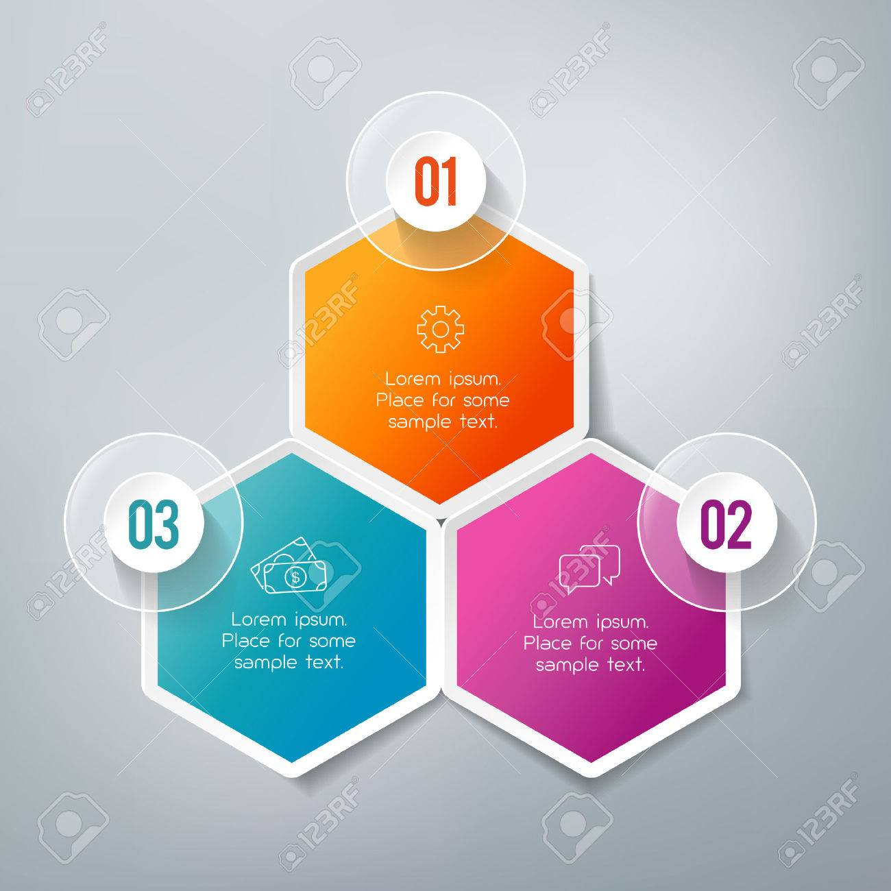 Three steps infographics - can illustrate a strategy, workflow or team work. - 50372258