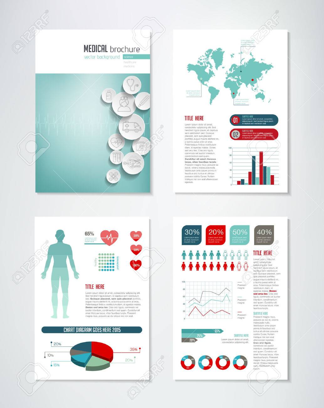 medical brochure template with charts and infographics elements stock vector 50372302