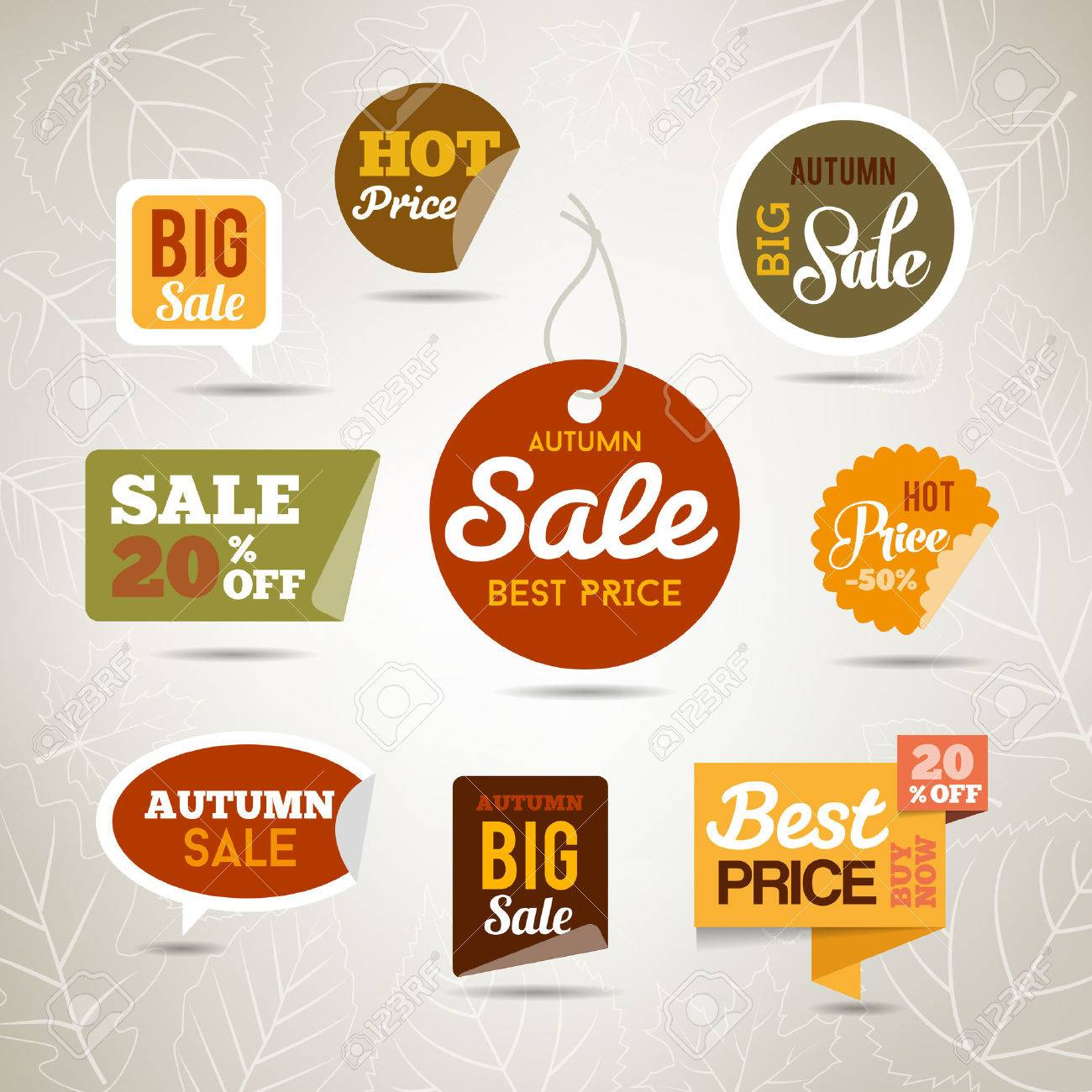 Collection of autumn sales stickers - badges with leaves and trees. Can be used fr web or print. - 50453682
