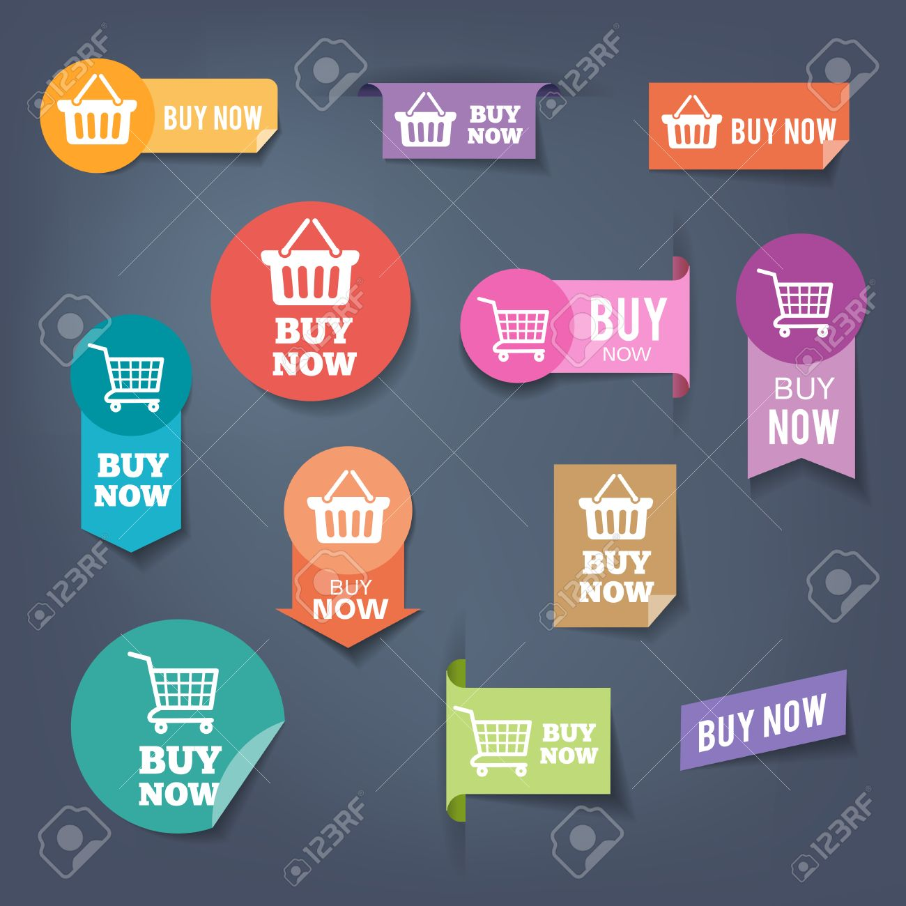 """Collection of sales buttons """"Buy Now"""". Colorful flat design style. - 50453703"""