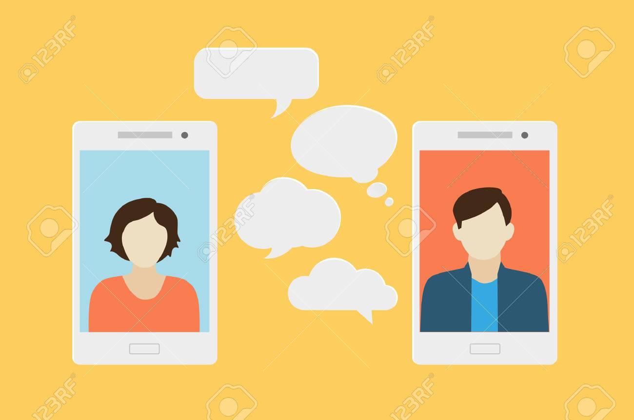 00284299e527 Concepto de un chat móvil o la conversación de las personas a través de los  teléfonos móviles. Puede ser utilizado para ilustrar la globalización, las  ...