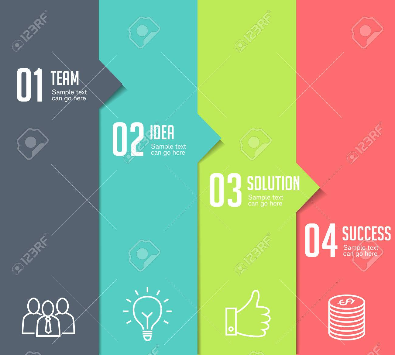 Four steps infographics - can illustrate a strategy, workflow or team work. - 50453710