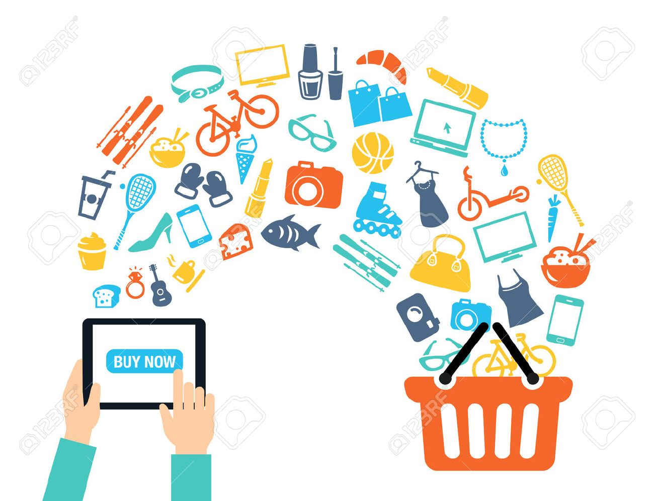Shopping background concept with icons - shopping online, using a PC, tablet or a smartphone. Can be used to illustrate mobile communication topics or consumerism. - 50453711