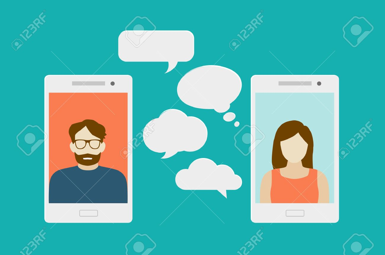 Concept of a mobile chat or conversation of people via mobile phones. Can be used to illustrate globalization, connection, phone calls or social media topics. - 50453713