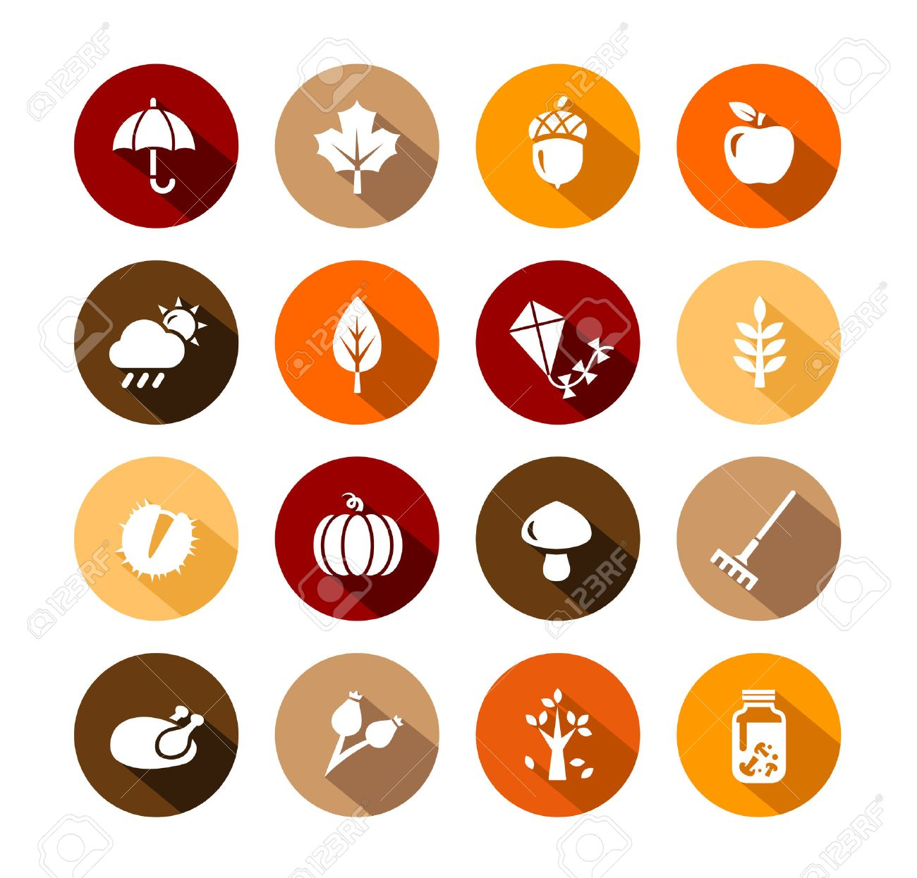 Collection of Autumn Icons - autumn symbols and activities - 50453784