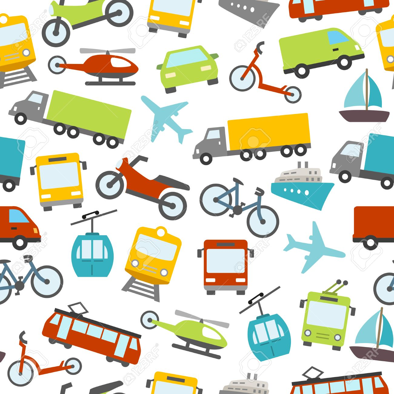 Seamless pattern with cars, buses, trams and others means of transport. Can be used as a wallpaper decoration or as a design for a printable card. Stock Vector - 50454587