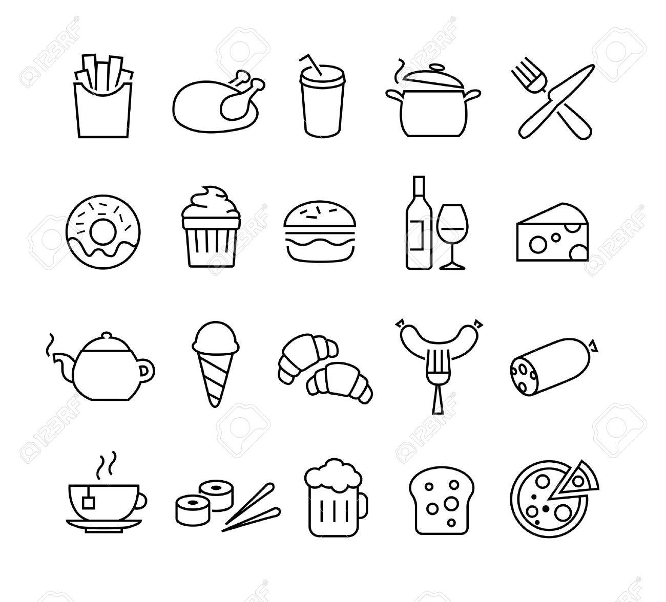 Collection of thin lines icons representing food and cooking. Suitable for print, web or mobile apps design. - 50454595