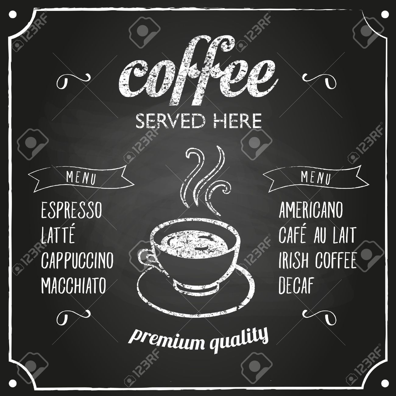 Retro coffee typography sign on a chalkboard. Can be used as menu board for restaurant or bars. - 50454597
