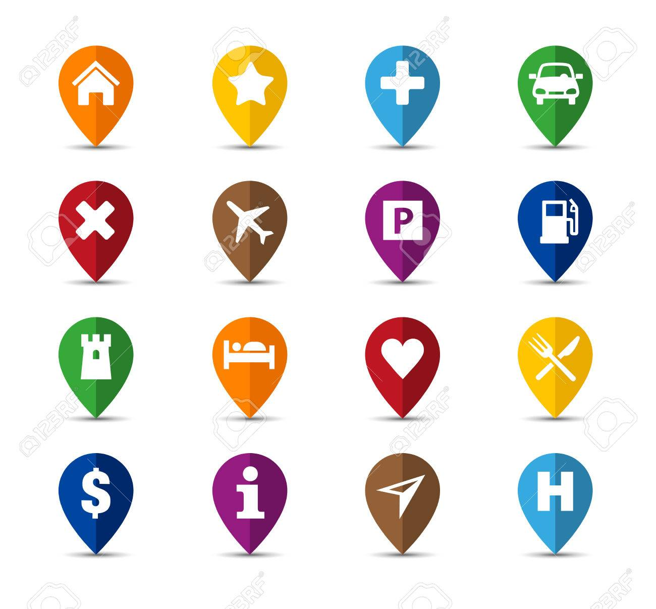 Collection of navigation icons - pins for maps - 50454816