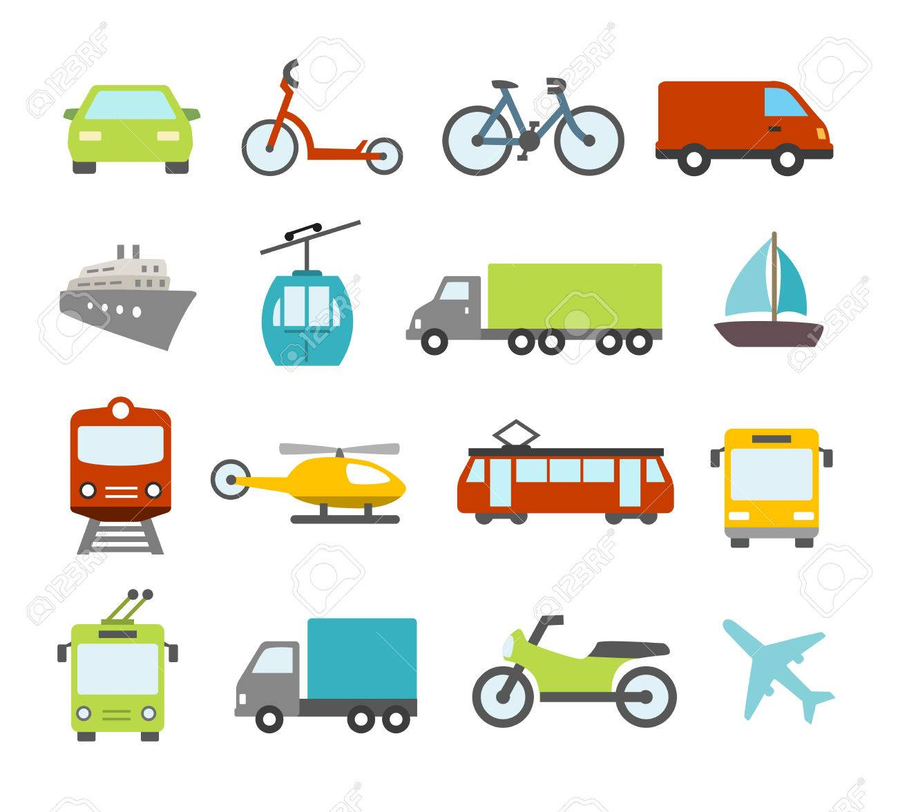 Collection of icons related to trasportation, cars and various vehicles - 50454822