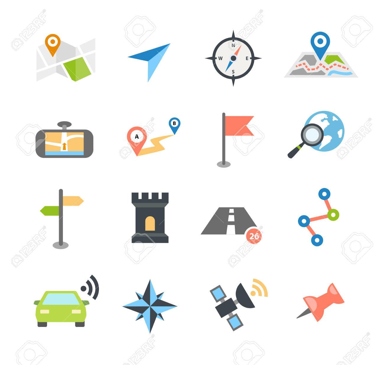 Collection of navigation icons - arrows, pointers and navigational equipment. Can be used for maps, plans, mobile apps. Usable for web or print. - 50454828