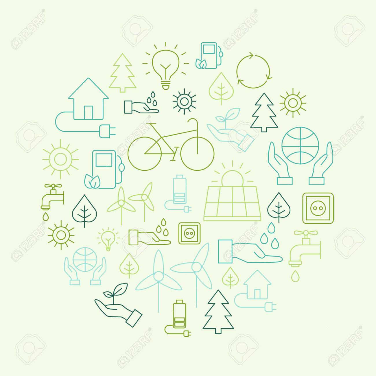 Ecology background made of icons representing the environment, renewable energies, nature conservation. Infographic modern thin lines vector design. - 52557888