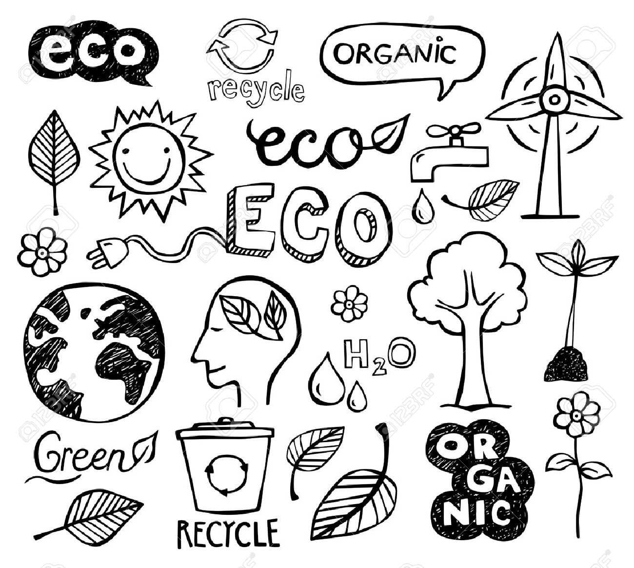 Eco and organic doodles - icons. Ecology, sustainable development, nature protection. - 53521090