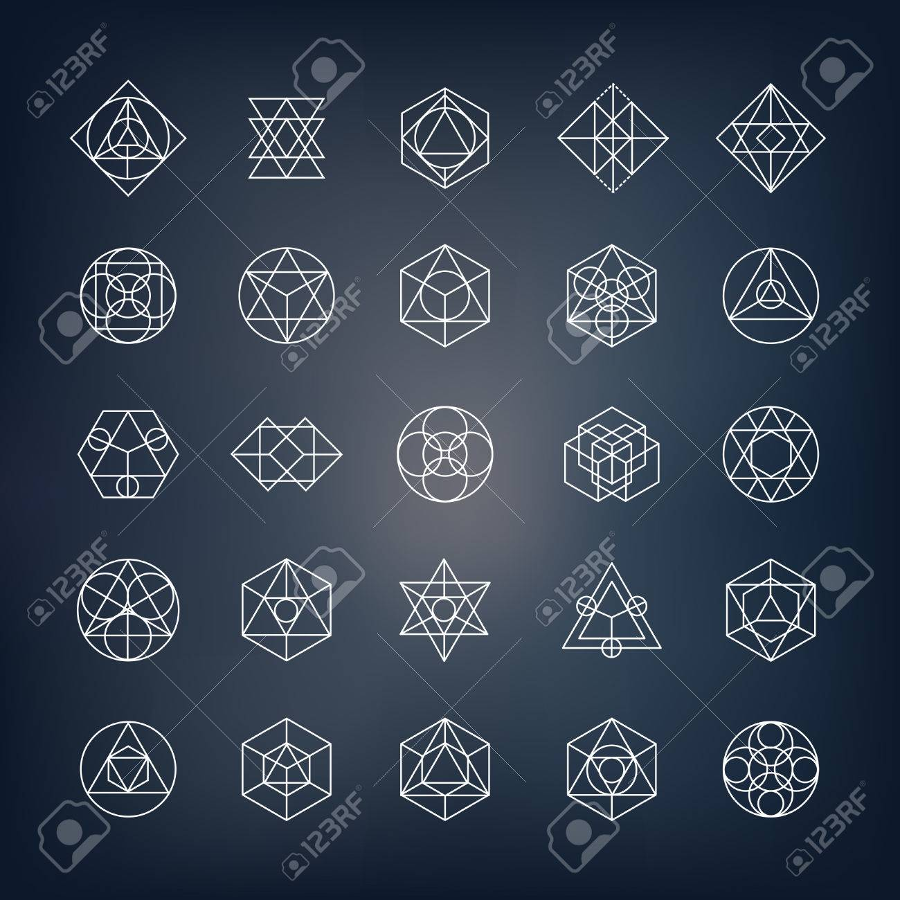 Geometrical shapes. Can be used as sacred geometry sybols or alchemy and spirituality elements. - 56646219