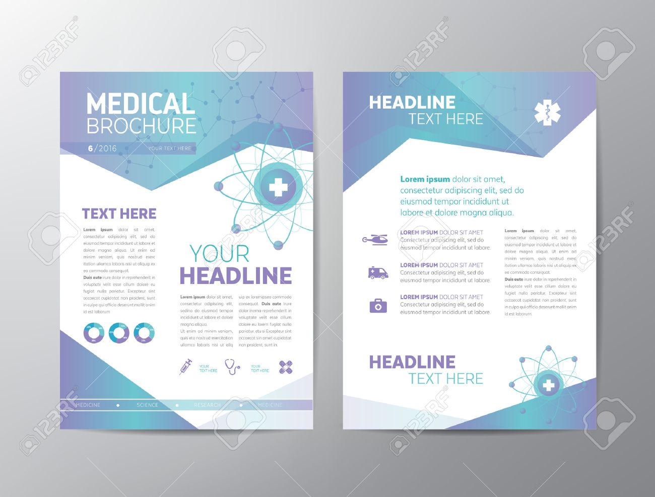 Abstract Medical Background Template Can Be Used As Book Cover - Free medical brochure templates