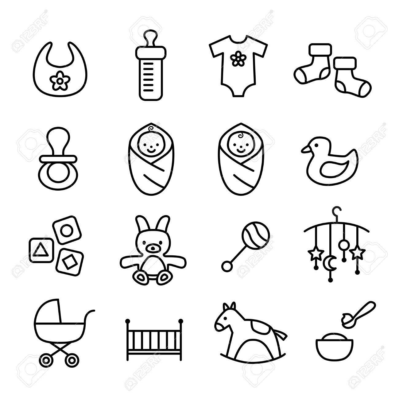 5654b7bd922b0 Banque d images - Collection d icônes de bébé - enfants