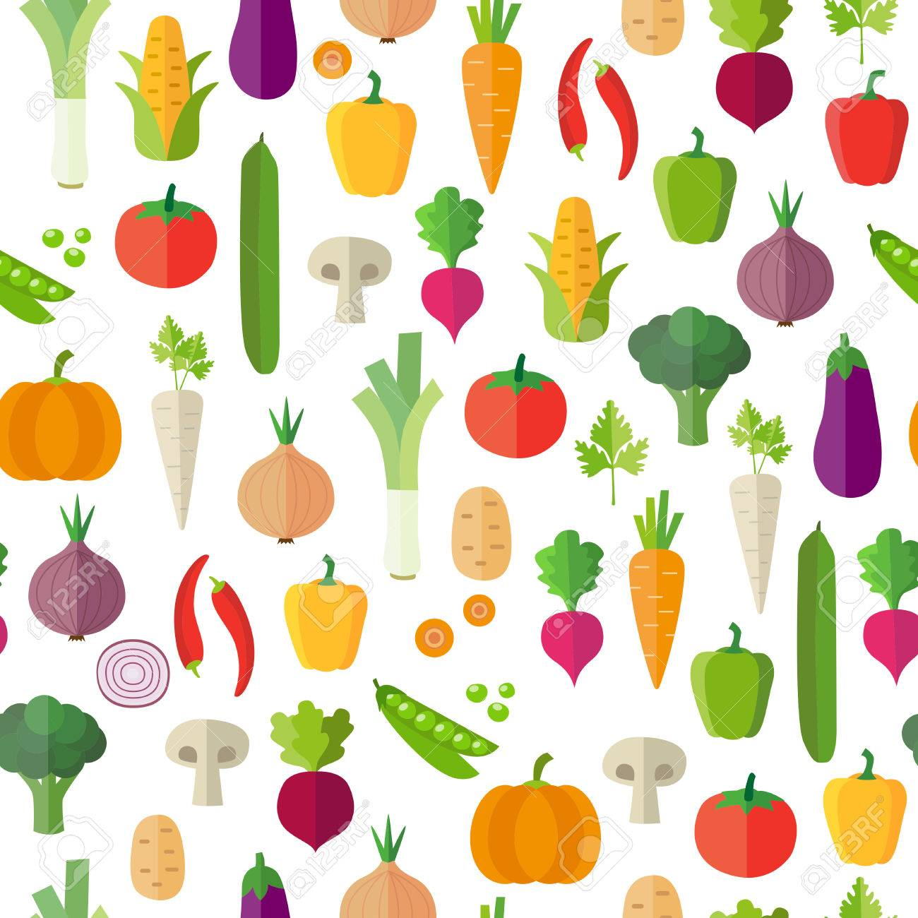 Vegetables Background Seamless Pattern Can Illustrate Topics