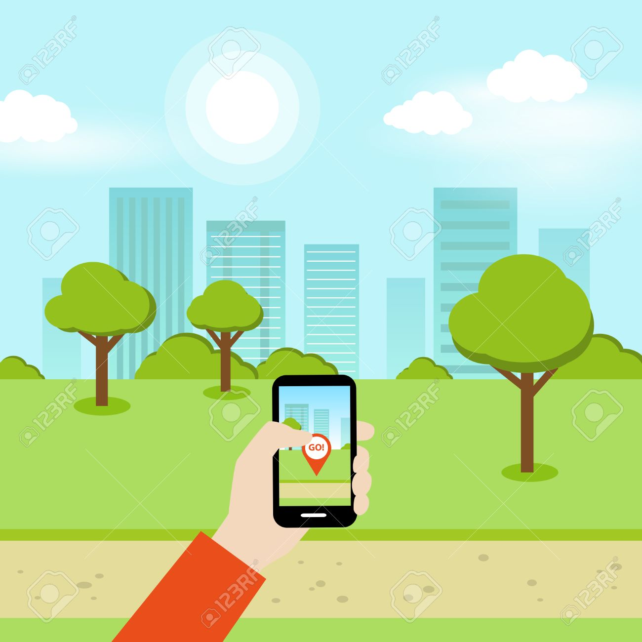 A person using a smartphone to play an online geolocation game in the park. - 60672724