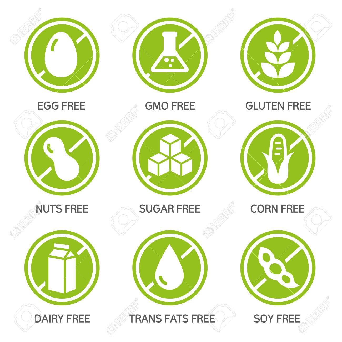 Set of food labels - allergens, GMO free products. - 79529213