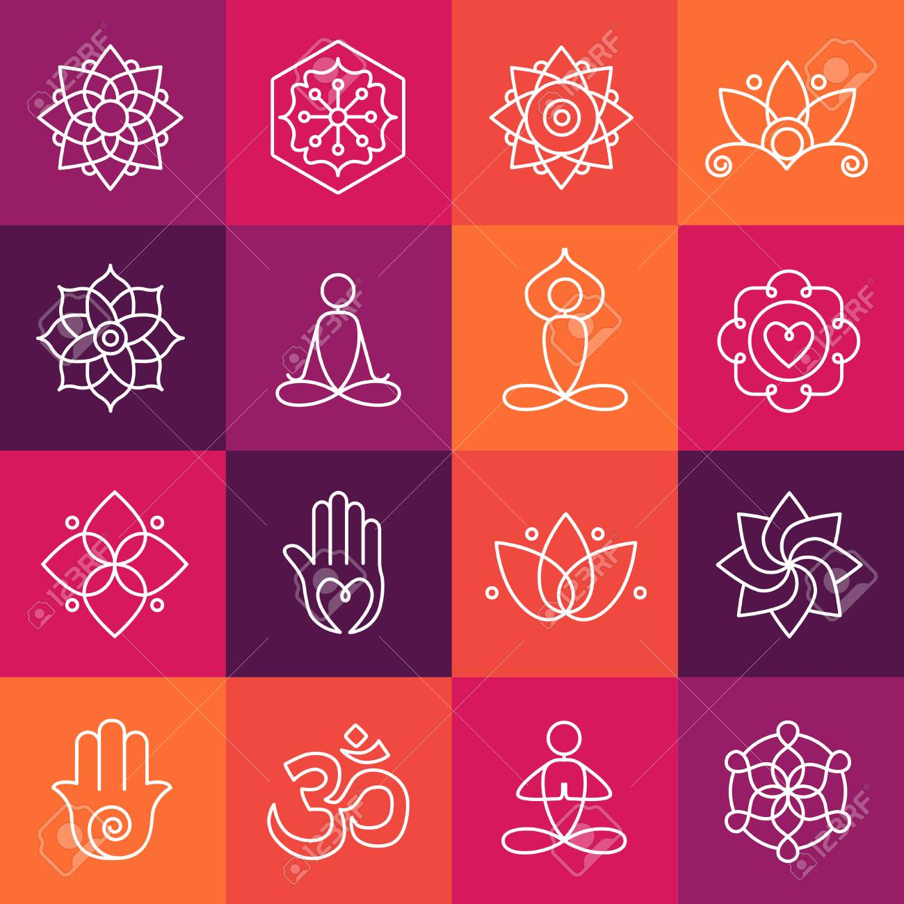 Collection Of Yoga Icons Relaxation And Meditation Symbols Royalty Free Cliparts Vectors And Stock Illustration Image 90968175