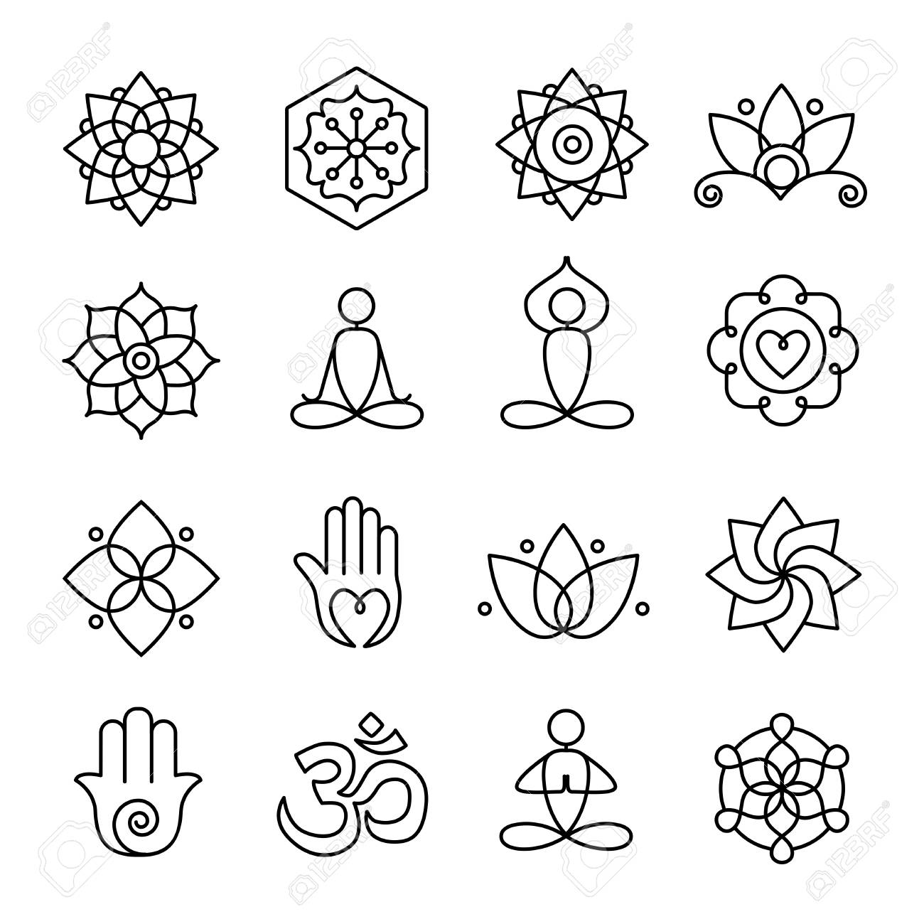 Collection Of Yoga Icons Relaxation And Meditation Symbols Royalty Free Cliparts Vectors And Stock Illustration Image 90966317