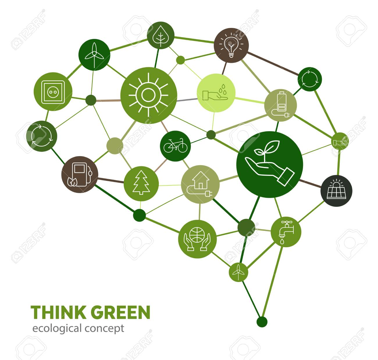 Ecological concept - protection of the environment through the change of human thinking. Can symblolize education that leads to protection of nature and the planet. - 100998462