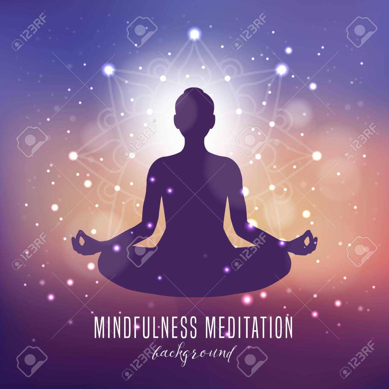 Yoga Mindfulness And Meditation Background Royalty Free Cliparts Vectors And Stock Illustration Image 124428191