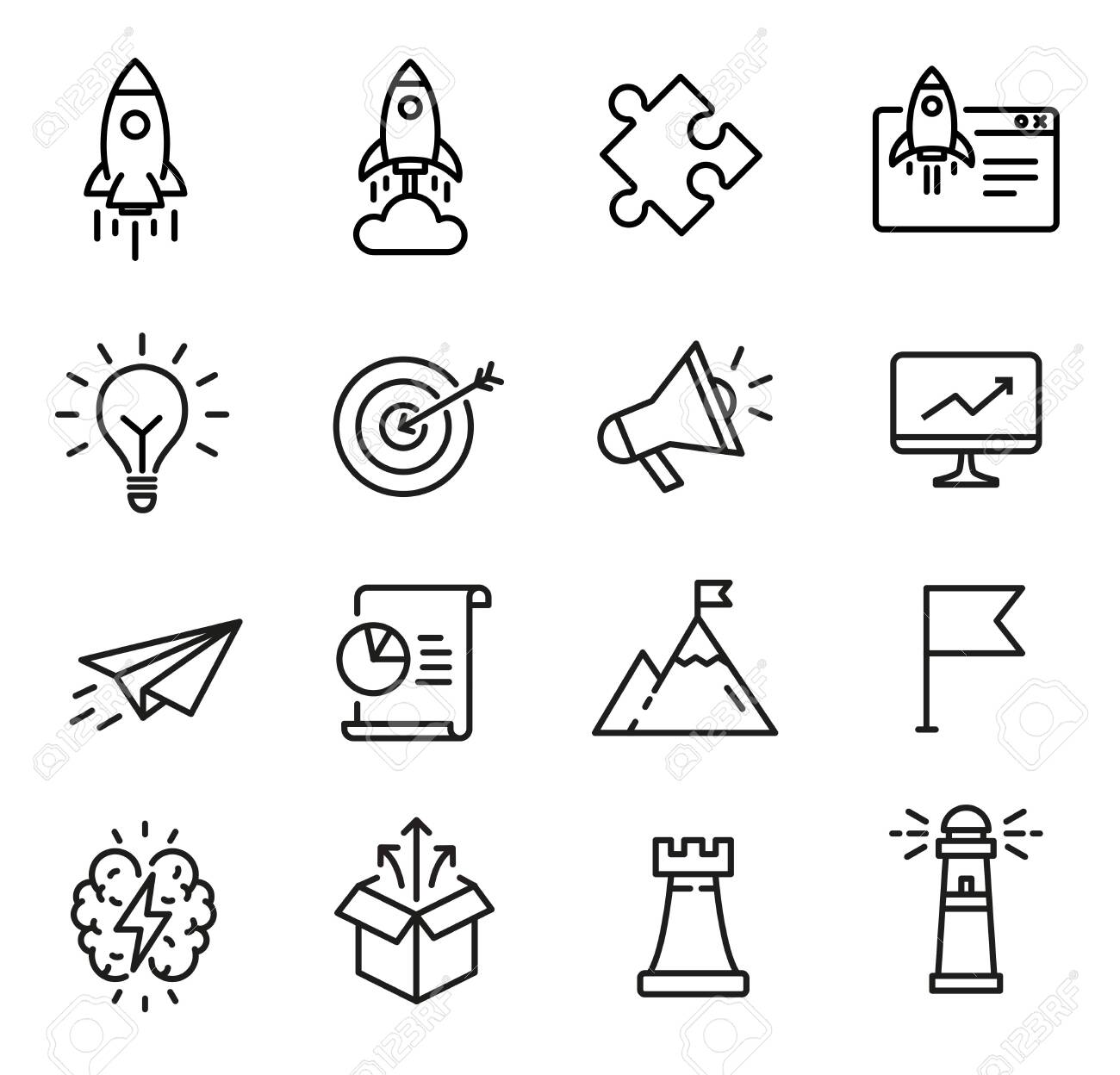 Startup icons, thin line design, can be used to illustrate startup launch, business opportunity, proces of creative thinking - 134167935