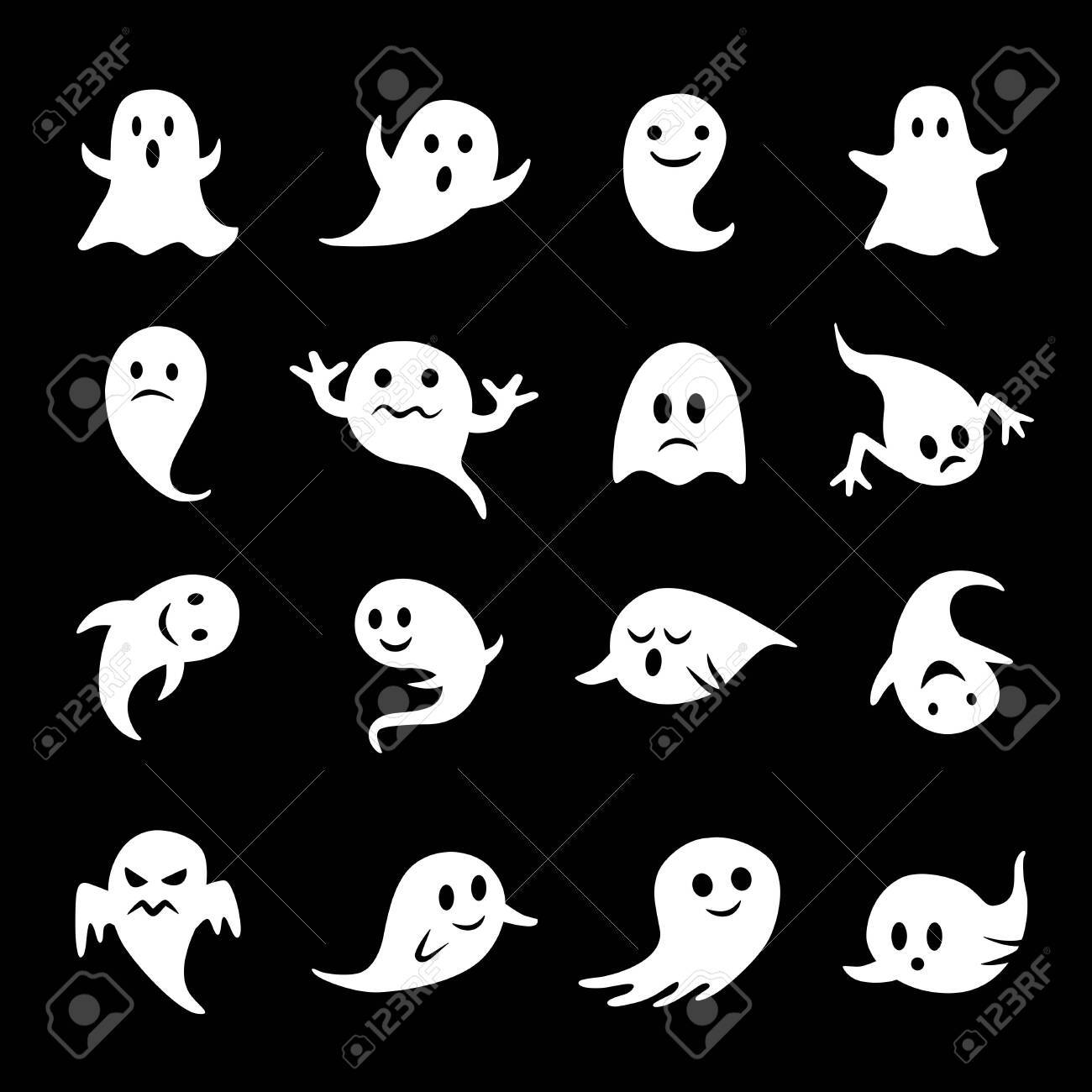 Collection of ghost icons on black - 141941204