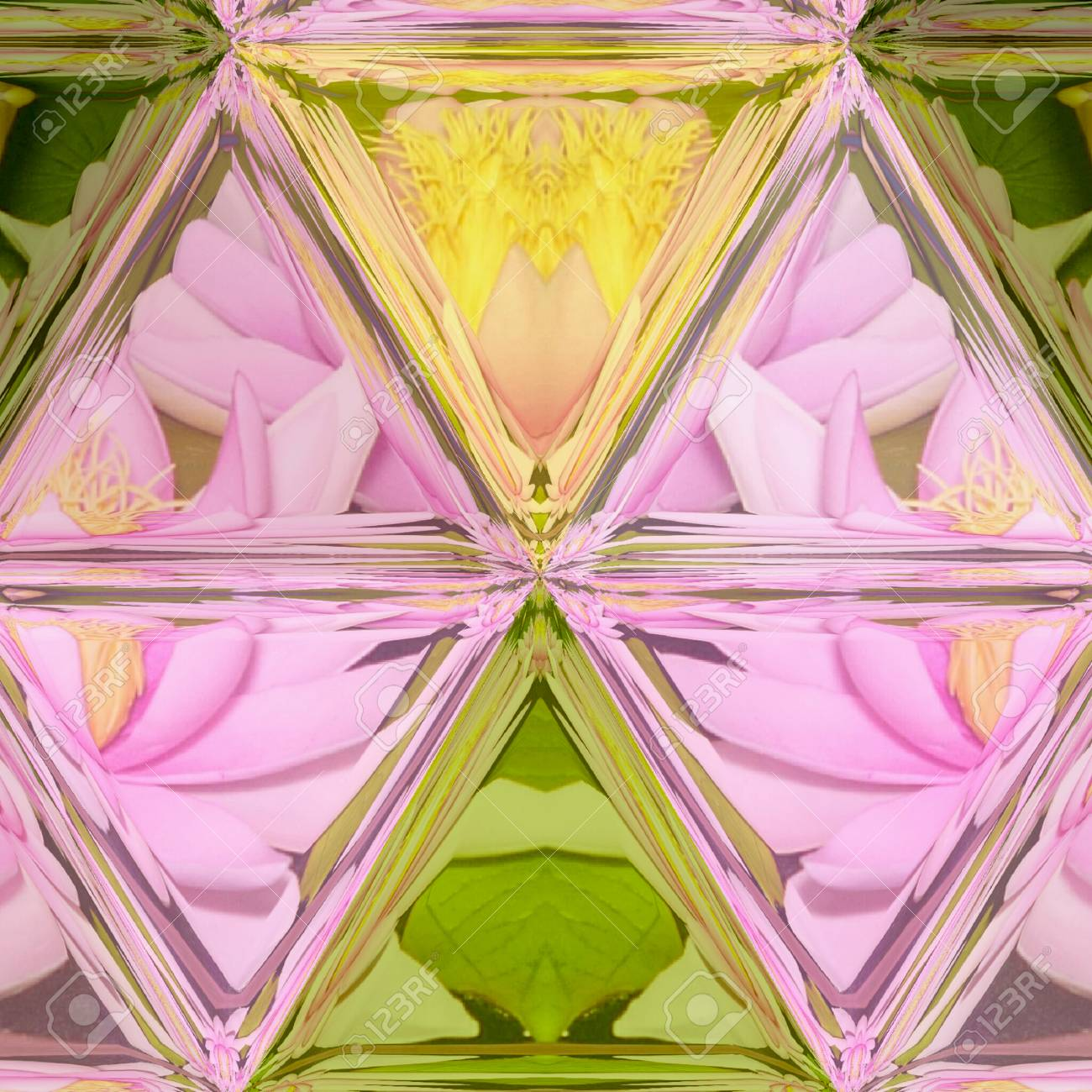 Lotus Flowers And Mosaic Triangle Stained Glass Background Stock