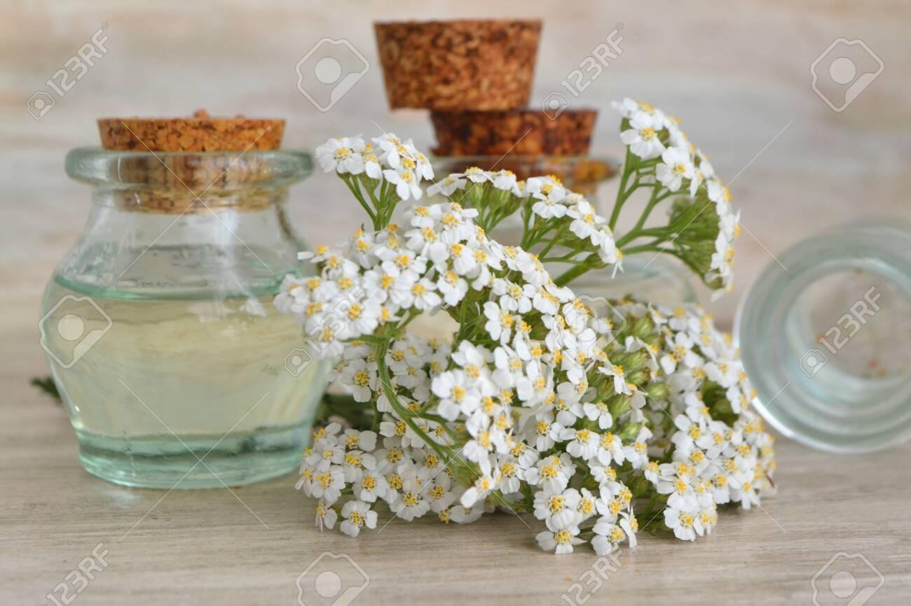 Yarrow (achillea millefolium) and pharmaceutical bottles of essential oil. - 129801209