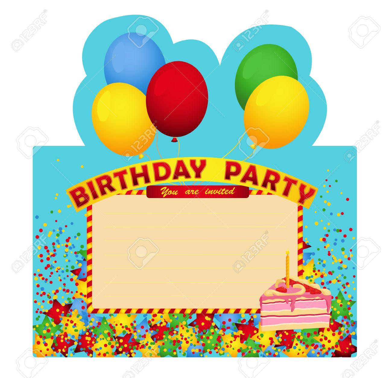 Tarjeta De Invitación De La Fiesta De Cumpleaños Con El Pedazo De La Torta Tarjeta De Invitación Para La Fiesta De Cumpleaños Decorado Con Globos