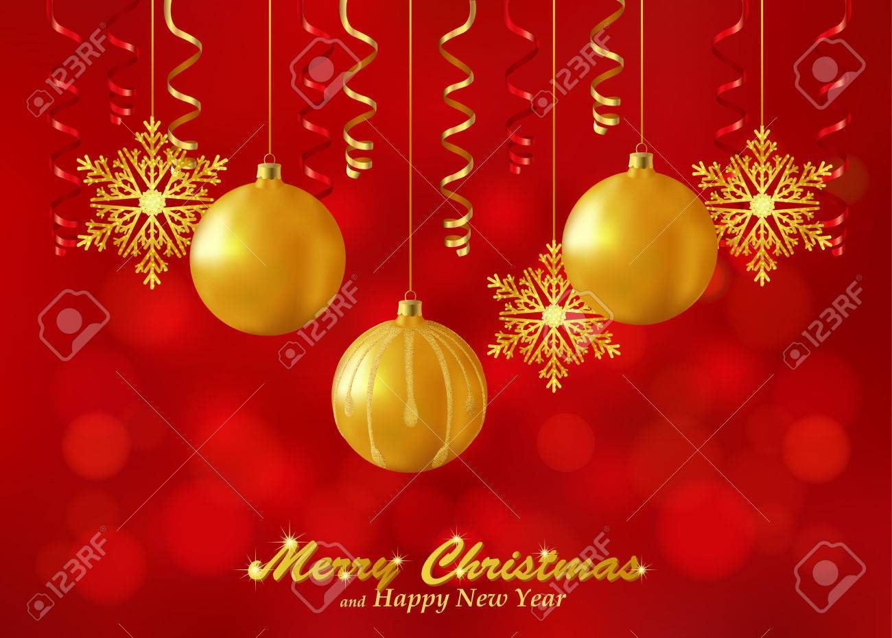 Holiday Red Background With Christmas Ornaments Decorated Glass Balls Snowflakes And