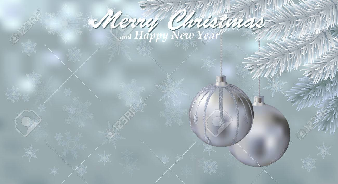 Merry Christmas Snow Background With Silver Balls. Holiday Snowy ...