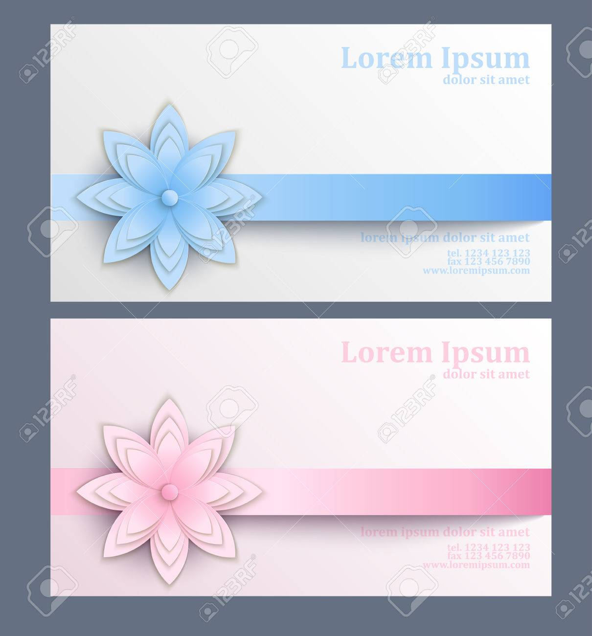 Business Card With Paper Flower. Template Of Visit Card Decorated ...