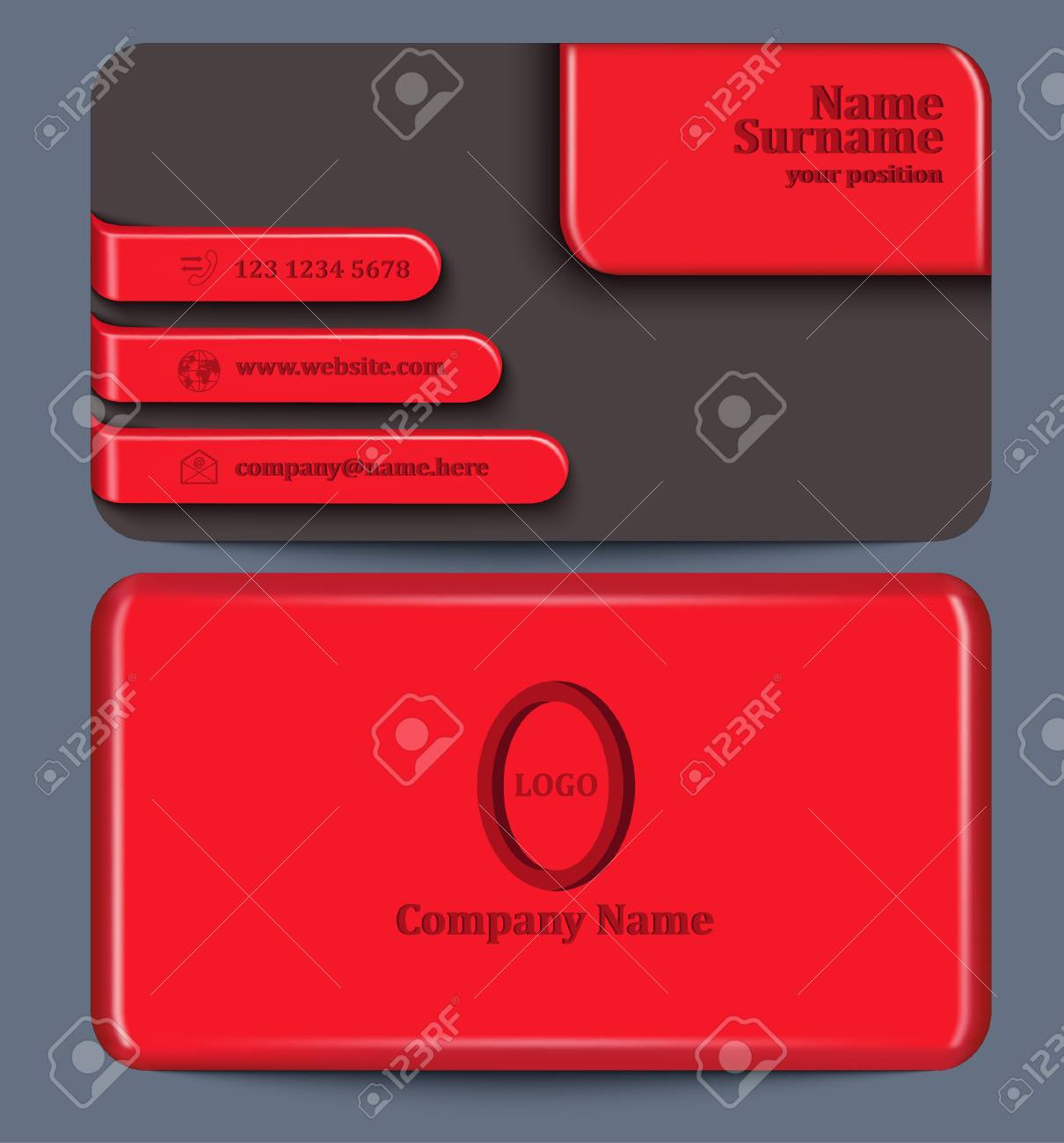 Business card with red plastic elements template of visit card business card with red plastic elements template of visit card with one plastic side and colourmoves