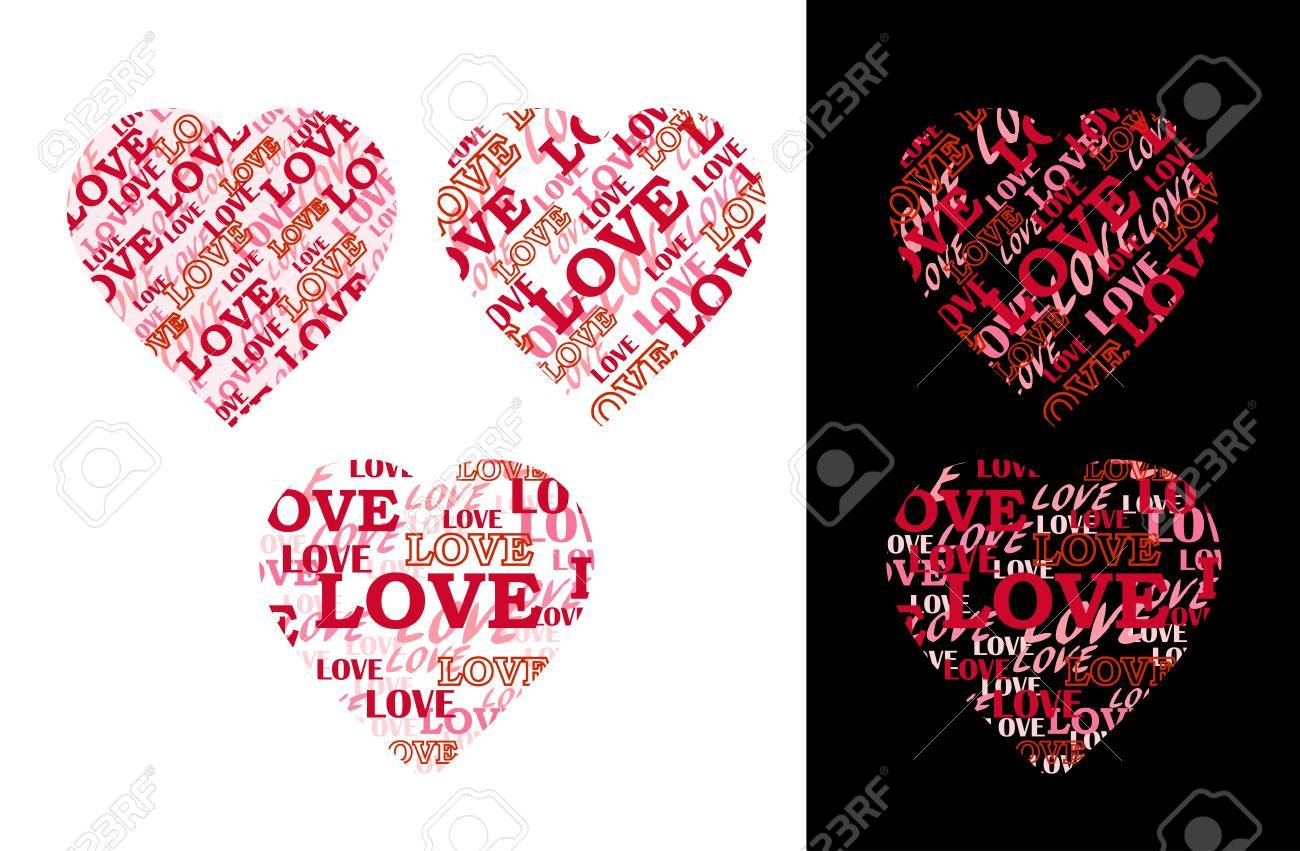 Corazón Hecho De Las Letras Inscripciones Amor Tiene Forma De