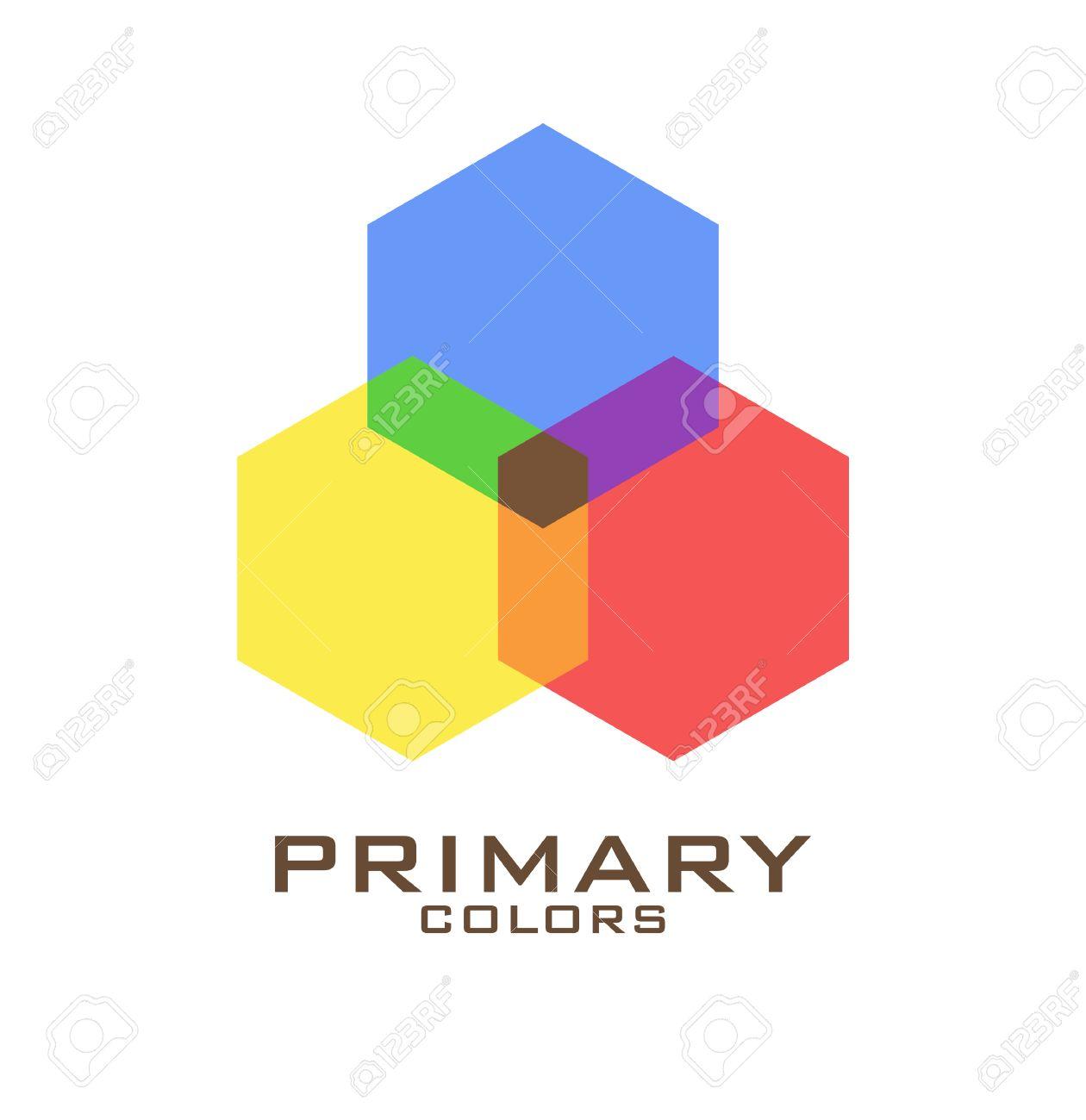 Modèle De Conception De Logo De Couleur Primaire Trois Hexagones De