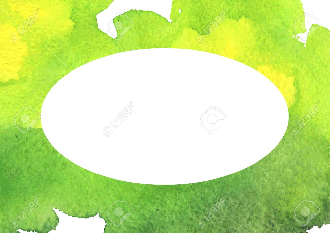 Acquerello Sfondo Verde Priorità Bassa Dellacquerello Con Il Bianco Posto Ovale Per Il Testo Illustrazione Vettoriale