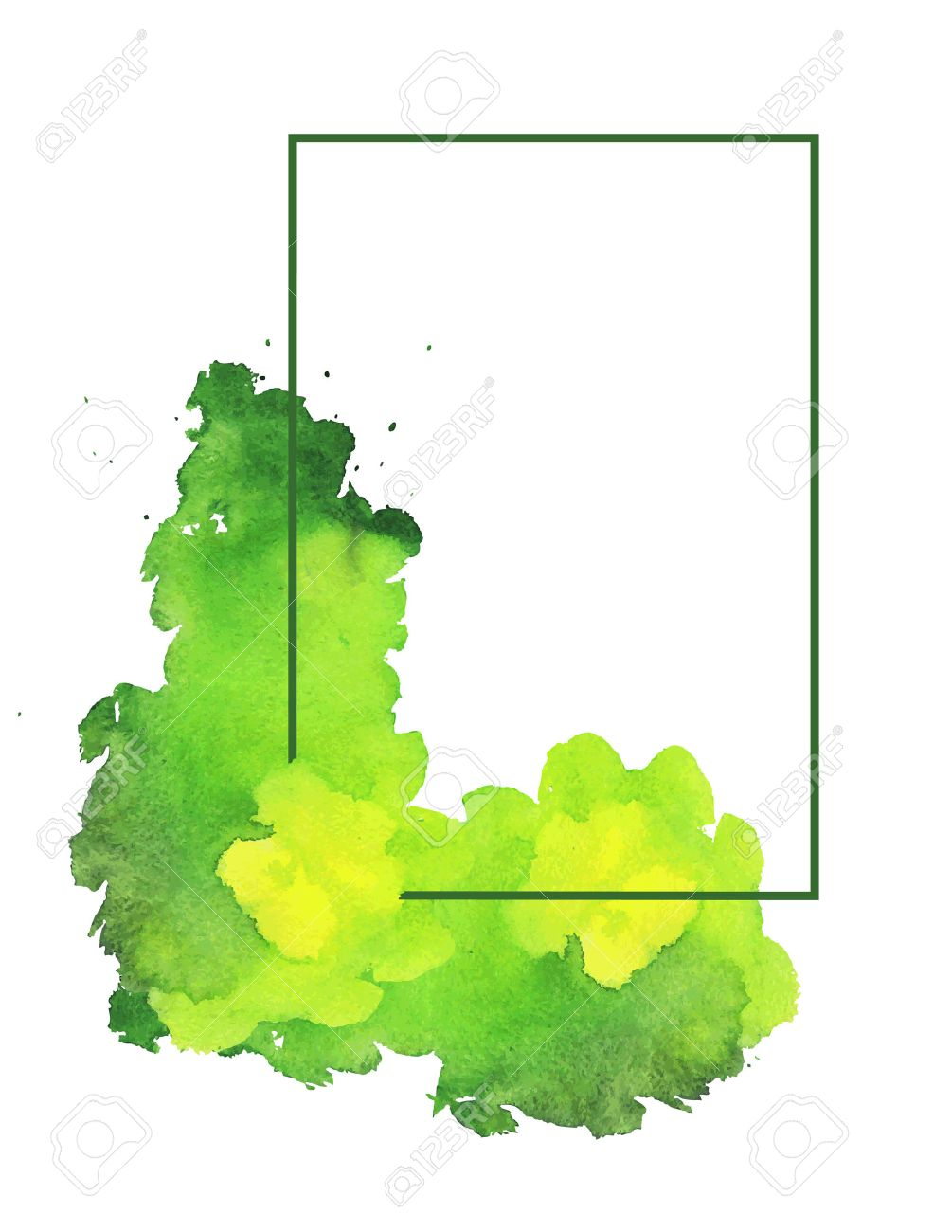 Green Watercolor Spot With Frame. White Background With Light ...