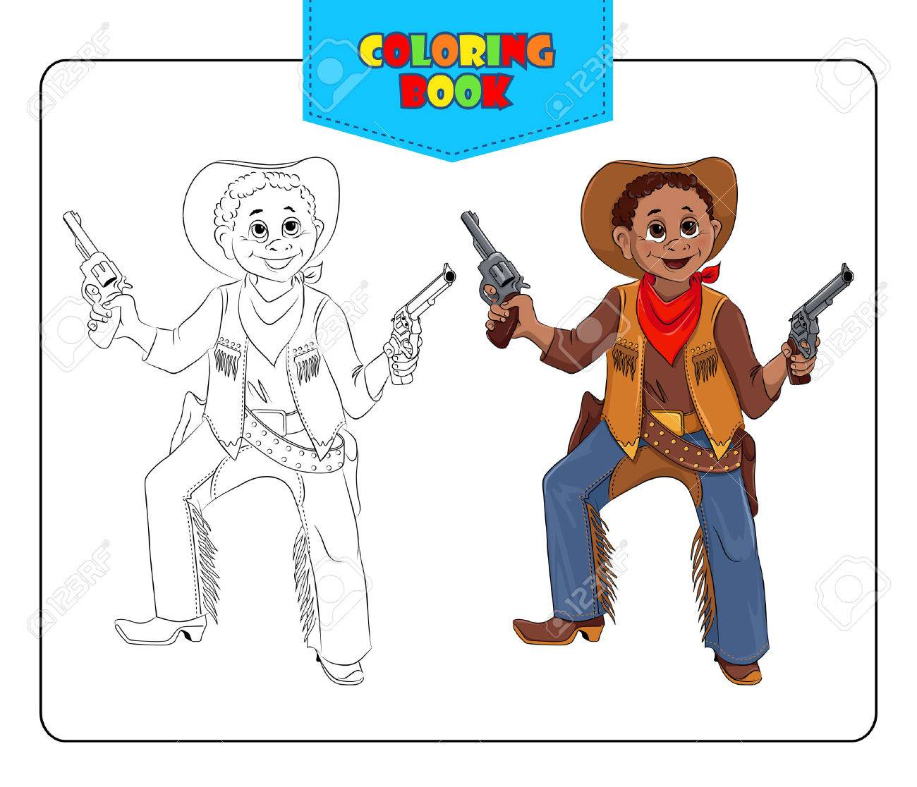 Little Boy In Carnival Costume Cowboy. Coloring Book. Set Of ...