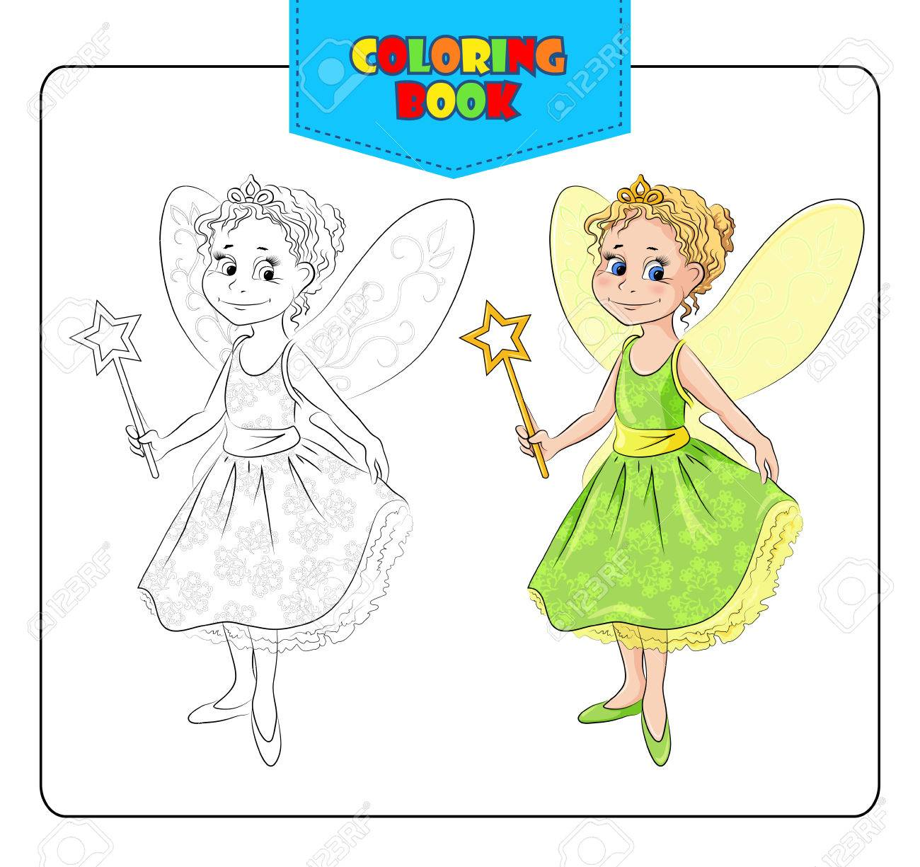 Little Girl In Carnival Costume Fairy. Coloring Book. Set Of ...