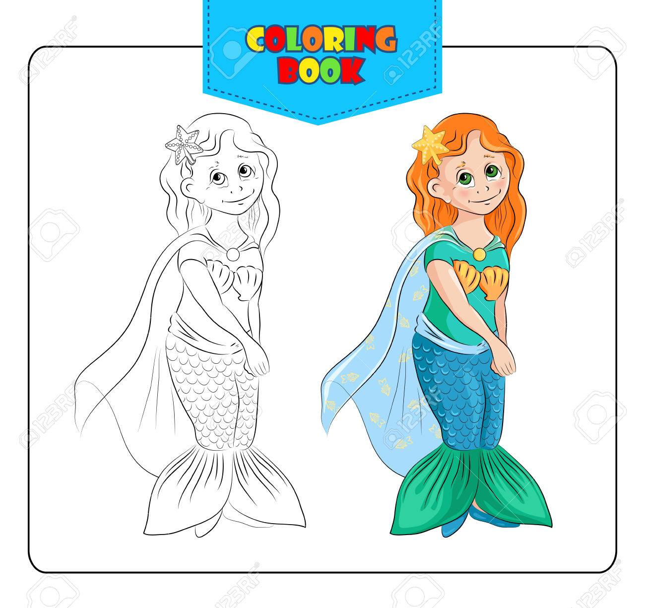 Little girl in carnival costume Mermaid. Coloring book. Set of..