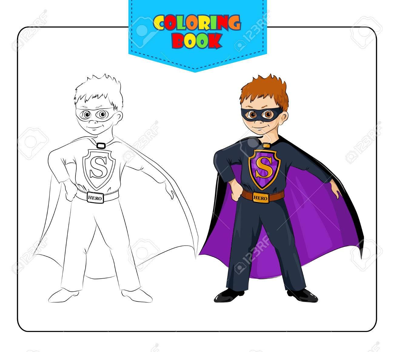 Kleiner Junge Im Karnevalskostüm Superheld. Malbuch. Set Von Kontur ...