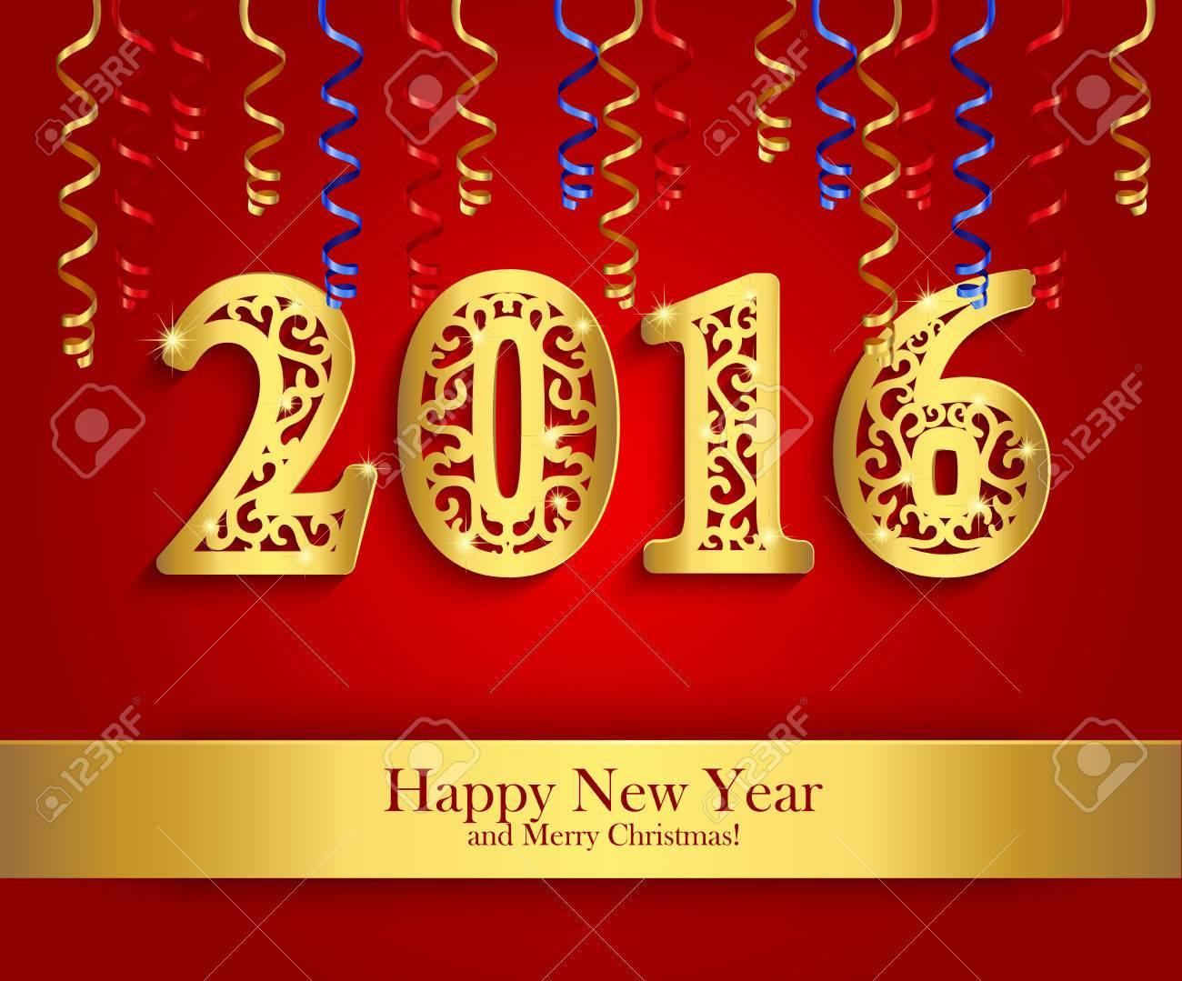 Neujahr Gruß Banner Mit Papier Streamer Und Goldenen Tag 2016. Red ...